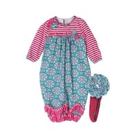 Isobella & Chloe Baby Girls Teal Cloverfield Striped Flower Layette Sack