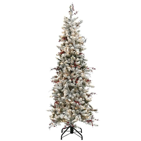 7.5 ft. Memory-Shape® Snowy Freehold Spruce Pencil Slim Tree with Clear Lights