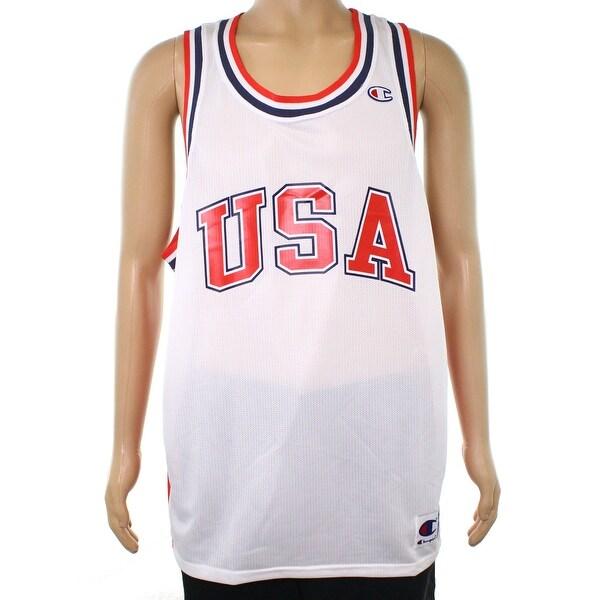 b4801edf191 Shop Champion White Mens Size XL USA Mesh Basketball Jersey Tank Top ...