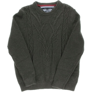 Tommy Hilfiger Mens Cable-Knit Textured Crewneck Sweater