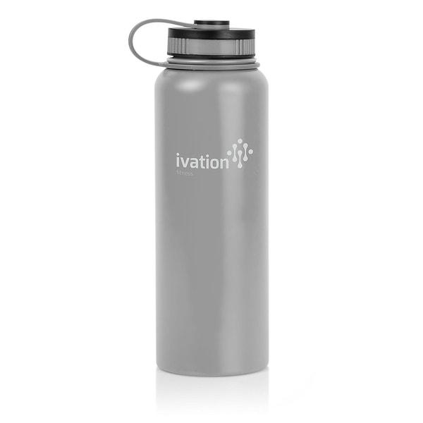 Ivation Flask Insulated Stainless Steel Water Bottle with Wide Mouth and 40-Ounce Capacity – Lightweight and BPA Free (Black)