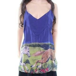 Carleen NEW Blue Women's Medium M V-Neck Running-Horses Blouse Silk
