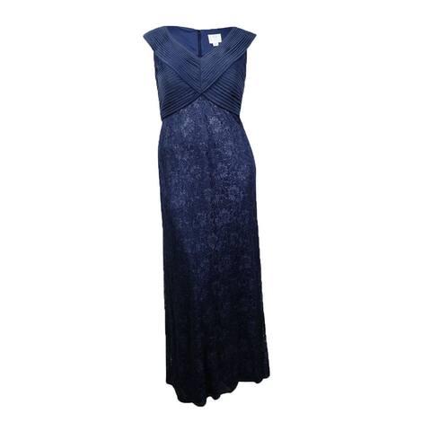 Patra Women's Sleeveless Chiffon Bodice Lace Skirt Dress - Slate Grey