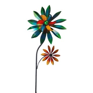 Colorful Metal Art Daisy Flowers Wind Spinner Garden Stake - 47.5 X 14.75 X 4 inches