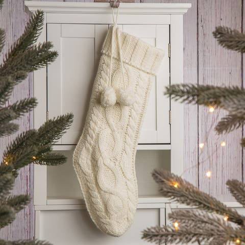"""Glitzhome Knitted Christmas Stocking - 24""""L"""