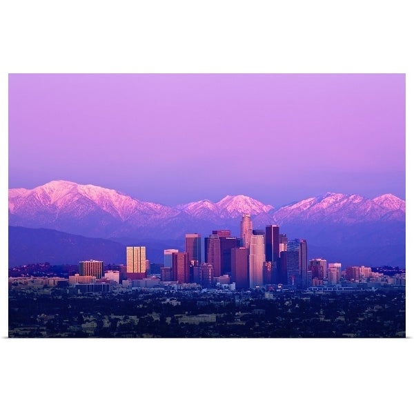 """""""Downtown Los Angeles at sunset."""" Poster Print"""