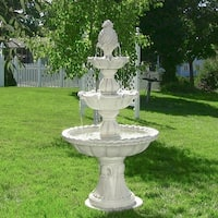 Sunnydaze Welcome 3-Tier Outdoor Garden Water Fountain - Electric - 59-Inch