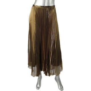 Mason Womens Pleated Skirt Metallic Long