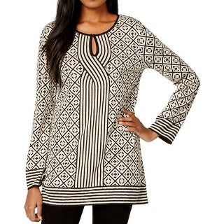 Studio M Womens Tunic Top Geometric Knit