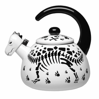 Dinosaur Skeleton Black And White Enamel Tea Kettle
