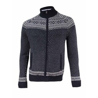 Tommy Hilfiger Men's Nordic Patterned Sweater Jacket (M, Black/Ivory) - Black/Ivory - M