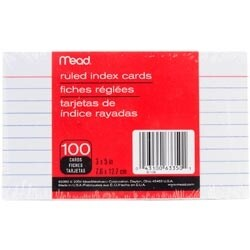 """Ruled White - Mead Index Cards 3""""X5"""" 100/Pkg"""