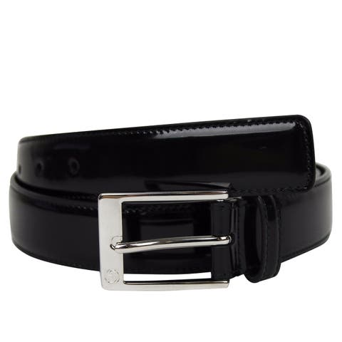 807c5855c2b1 Gucci Men's Square Black Patent Leather Belt with GG Detail Buckle 345658  1000 (105/