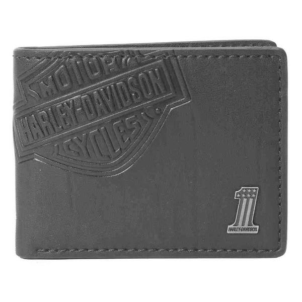 "Harley-Davidson Men's Classic Billfold, HD Bar & Shield Wallet, CR2343L-Black - 4.25"" x 3.375"""
