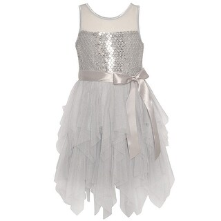 Little Girls Silver Paillette Adorned Mesh Cascade Ruffle Dress