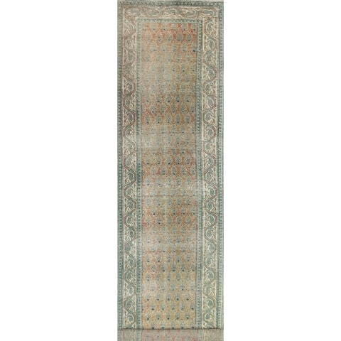 """Distressed Paisley Tabriz Persian Runner Rug Hand-knotted Wool Carpet - 2'8"""" x 16'4"""""""