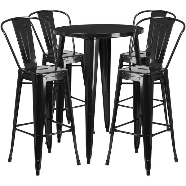 Brimmes 5pcs Round 30'' Black Metal Table w/4 Cafe Barstool