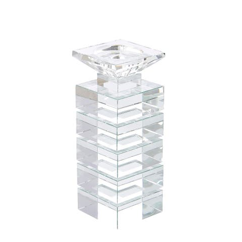 Sagebrook Home 13315-02 Crystal Candle Holder, Clear Crystal, 4 x 4 x 11 Inches