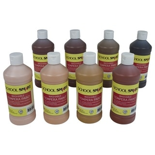 School Smart Washable Tempera Paint Set, Assorted Multiculutral Colors, Pint Set of 8