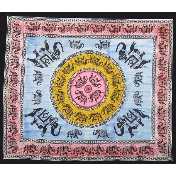 Handmade 100% Cotton Mandala Good Luck Elephant Bedspread Tapestry Tablecloth Full