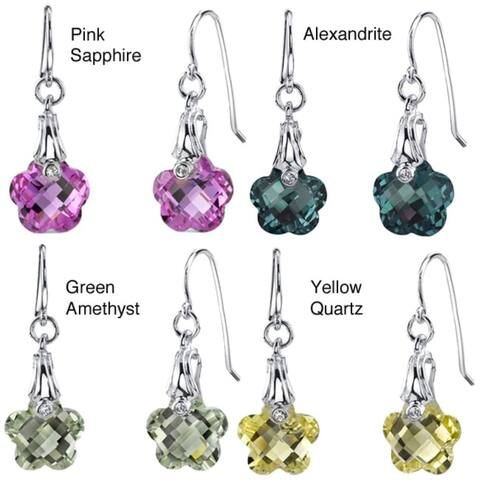 Gemstone Flower Design Dangle Earrings in Sterling Silver