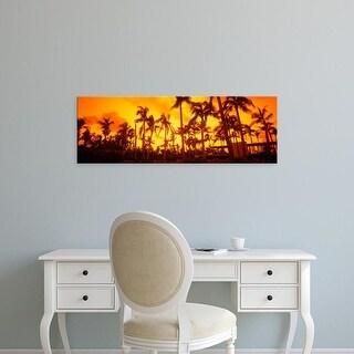 Easy Art Prints Panoramic Image 'Palm trees, Beach, The Setai Hotel, South Beach, Miami Beach, Florida' Canvas Art