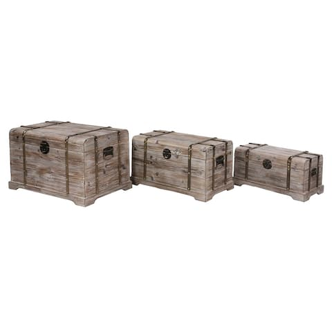 Set of 3 Trunks with Rosette Latches and Ball Handles - 31 x 19 x 19