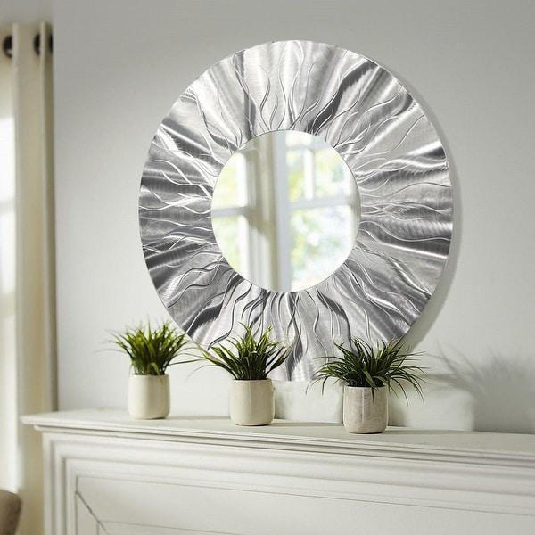 Statements2000 Silver Metal Decorative Wall-Mounted Mirror by Jon Allen - Mirror 105