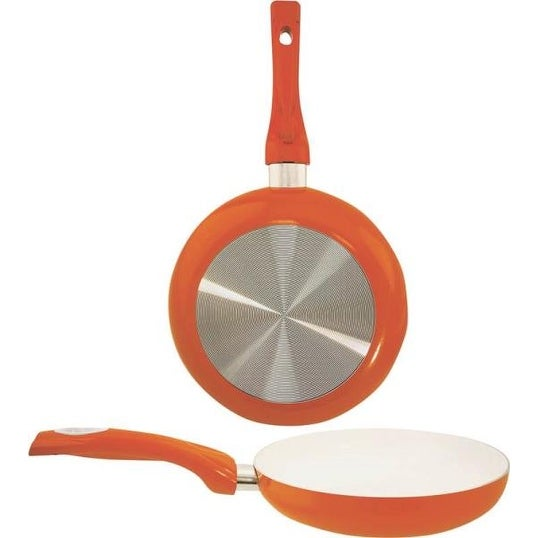 "Dura-Kleen 8124-O Ceramic Coated Aluminum Fry Pan, 9.5"", Orange"