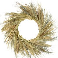 "22"" Autumn Harvest Wheat, Straw Stalks and Twig Thanksgiving Fall Wreath - Unlit - Brown"