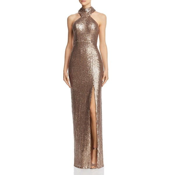Bariano Womens Jorja Formal Dress Sequined Sleeveless - Gold. Opens flyout.