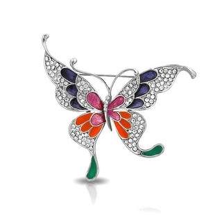 Bling Jewelry Gold Plated Multi Color Enamel Crystal Butterfly Brooch Pin