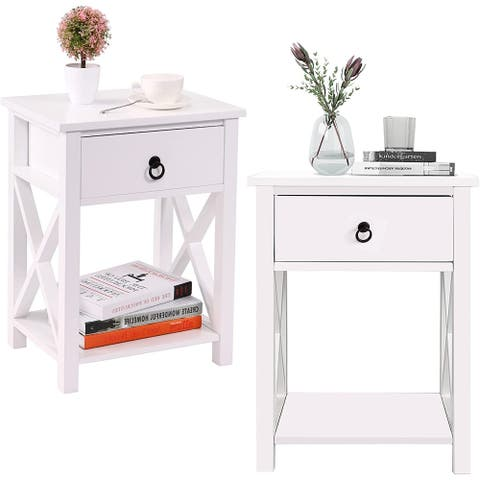 Wooden Side End Table, Modern Night Stand Storage Shelf