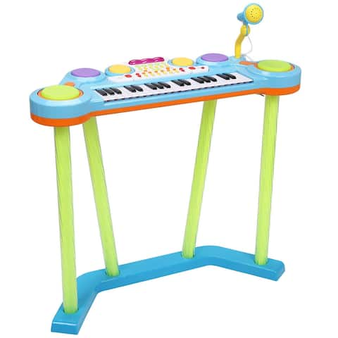 Costway 37 Key Electronic Keyboard Musical Piano Organ Drum Kids w/ Microphone MP3 Input - Blue