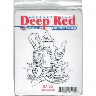 Deep Red Stamps Tea Set Rubber Cling Stamp - 2.9 x 3.1