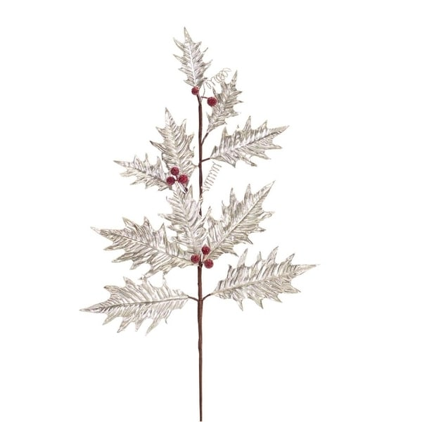 Pack of 12 Metallic Silver Holly Leaf and Red Holly Berries Christmas Sprays 29""