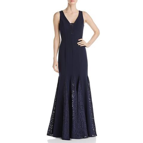 Eliza J Womens Formal Dress Lace Trim V-Neck - Navy