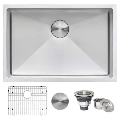 Ruvati 27-inch Undermount 16 Gauge Tight Radius Stainless Steel Kitchen Sink Single Bowl - RVH7127 - 8' x 11'