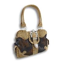 Forest Camo Handbag Ornate Rhinestone Buckle Mock Croc Trim