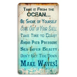 Past Time Signs 8 x 14 in. Oceanic Advice Small Satin Metal Sign