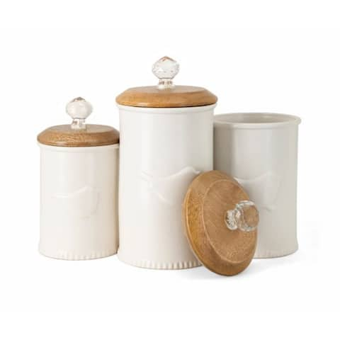"""Set of 3 White Ceramic Cylindrical Canisters with a Bird Silhouette 9.75"""""""
