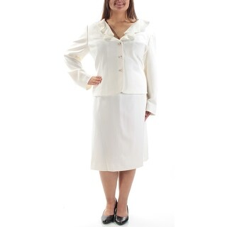 Womens Ivory Below The Knee Pencil Wear To Work Skirt Suit Size 18