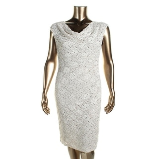 Connected Apparel Womens Lace Sequined Cocktail Dress
