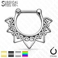 Tribal Fan 316L Surgical Steel Septum Clicker (Sold Ind.) - Thumbnail 0
