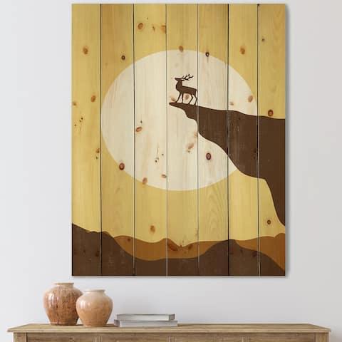 Designart 'Minimalistic Deer At Sunset On Mountain Top Sunset' Lake House Print on Natural Pine Wood