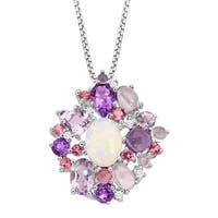 3 1/2 ct Natural Opal, Amethyst & Tourmaline Pendant with Diamonds in Sterling Silver - Pink