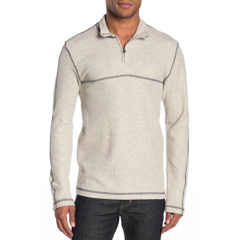 Vintage 1946 Mens Drop Needle 1/4 Zip Pullover Sweatshirt Large Oatmeal