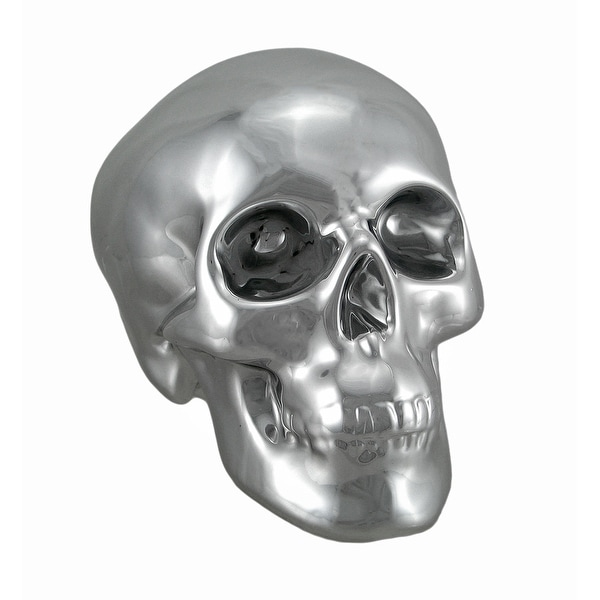 Silver Finished Ceramic Human Skull Money Bank. Opens flyout.