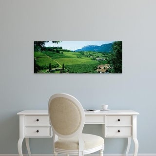 Easy Art Prints Panoramic Images's 'High angle view of fields, Bolzano, Italy' Premium Canvas Art
