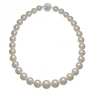 Bling Jewelry Graduated White Imitation Pearl Rhodium Plated Bridal Necklace